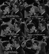Sabrina. Besides Breakfast at Tiffanys and My Fair Lady, my favorite Hepburn movie. Adorable. Linus and Sabrina.