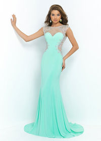 Cap Sleeves Long Mint Green Sheer Side Cut Outs Beaded Prom Dress