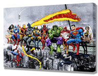 MORE Marvel & DC Superheroes Mounted Canvas Wall Art (various sizes) - Wonder Woman Cap America Iron Man Batman etc New Art, Extra Heroes! £19.99