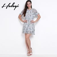 2017 summer styles dresses printed lace stitching sexy backless high waist dress - Bonny YZOZO Boutique Store