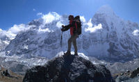 On the way to Kanchenjunga North Base Camp in Nepal with Breeze Adventure.