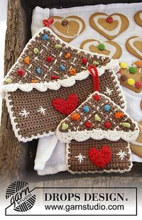 Gingerbread house pot holder, free pattern by DROPS design