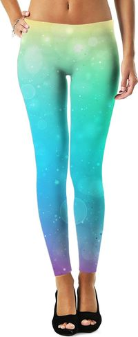 Yellow Green Blue Purple Ombre Leggings $49.00