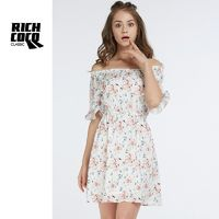Fresh Printed Slimming Bateau Off-the-Shoulder High Waisted Chiffon Summer Casual Dress Skirt - Bonny YZOZO Boutique Store