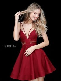 Red Sherri Hill Short Dress S51468 For Homecoming