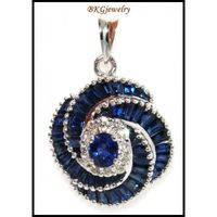 Natural Diamond Blue Sapphire Pendant 18K White Gold [P0066]