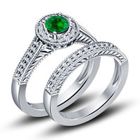 Round Emerald Gemstone White Gold Plated Sterling Silver Engagement Ring Ring May Birthstone Ring $112.99