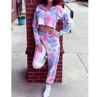 $18.9 Aliexpress - 2020 Spring Printing Women Sets Zipper Hoodies Crop Tops Drawstring Pants Outfit Tracksuits. Buy it from Aliexpress.com