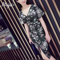 Sexy Low Cut Attractive Printed Slimming V-neck It Girl Summer Tight Dress - Bonny YZOZO Boutique Store