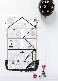 Halloween Coloring Pages / Giant haunted house, 10 sheet free printable