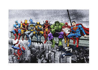 Marvel & DC Superheroes Lunch Atop A Skyscraper -Art Print/Poster Wall Art Captain America, Iron Man, Batman, Spider-Man and more! £15.00