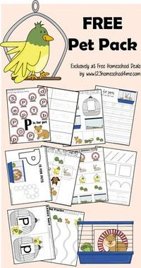 FREE Printable Pet Pack - fun learning worksheets for Toddler, Preschool, Kindergarten, and 1st grade