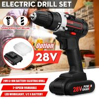 28V Cordless Power Drills Double Speed Electric Drill W/ 1 or 2 Li-ion Battery