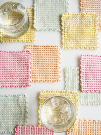 Whit's Knits:postLoom Coasters - The Purl Bee - Knitting Crochet Sewing Embroidery Crafts Patterns and Ideas!