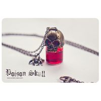 Gothic Skull poison glass bottle Necklace. SELECT YOUR COLOR Glass Bottle Pendant Miniature bottle poison bottle blood bottle go $58.00