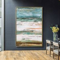 Seascape Abstract acrylic painting on canvas cuadros Original art Extra Large Contemporary Wall Art pictures hallway decor cuadro abstractos $89.00