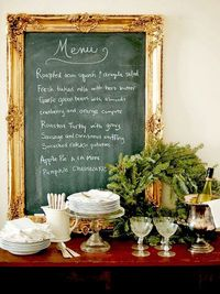 Love this menu board for our Dining Room- Now on the hunt for a huge gaudy frame I can spraypaint