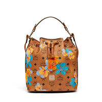 MCM Small Essential Visetos Drawstring Bag In Floral Brown