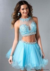 Short Beaded Two Pieces Homecoming Dress Lace E488 Splash