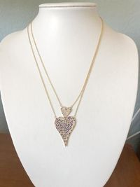 14K Yellow Gold Modern French Pave Double Diamond Heart Necklace $98.00