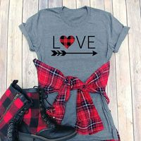 Valentine's Day Women Top Love Heart Printed T Shirt O Neck Short Sleeve Tee Shirt 2018 Summer Tees Girls Valentine's Tops $15.00