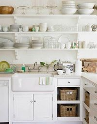 White Cottage Kitchen with Open Cabinets and Shelves.