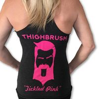 """THIGHBRUSH® - """"Tickled Pink"""" - Women's Tank Top - Heather Black and Pink $15.00"""