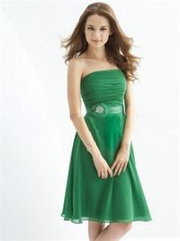 A-line Strapless Pleated Bodice with Beadings Knee Length Chiffon Bridesmaid Dress BD10388