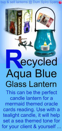 RECYCLED AQUA BLUE GLASS LANTERN ~ Use this with a tea light candle inside, during a mermaid oracle cards reading, to set an aqua blue tone to the reading ...
