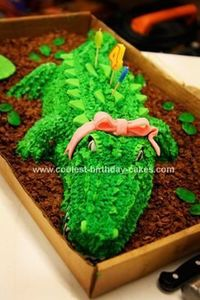 Homemade Alligator Birthday Cake: My little girl is not very girly and wanted an alligator birthday party at an alligator/petting zoo. I just thought I'd make my own Alligator Birthday