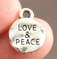 Pack of 50 Mini Silver Tone Love & Peace Charms. 10mm Valentine's Day Pendants £6.99