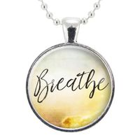 Breathe Necklace, Inspirational Quote Yoga Jewelry, Mindfulness Personal Mantra Pendant $15.00