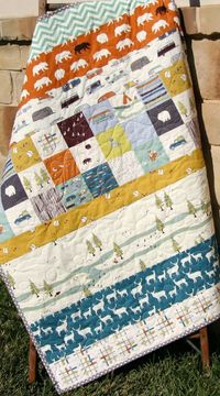 Camping Quilt, Modern Stripes, Bear Hiking Forest Canoeing, Camp Sur, Birch Fabrics, Organic All Natural Baby Boy Blanket