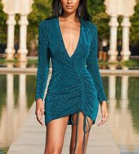 Blue Sequined Sparkle Ruched Front Drawstring Bodycon Dress at www.fashionsqueen.com