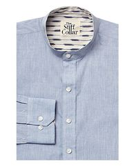Blue Chambray Ikkat Mandarin Collar Shirt �'�1499.00