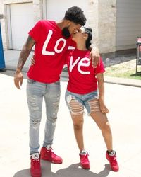 Shop Couple Matching Casual Red LO VE Women Men Fashion Tees | Fashion Hunter $19.77