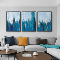 Set of 3 wall art blue art Abstract painting 3 pieces Wall Art paintings on canvas gold art original framed painting cuadros abstractos $163.53
