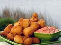 corn fritters with roasted red pepper and mayonnaise dipping sauce