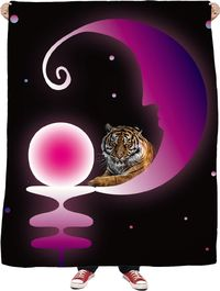 Tiger in The Moon Fleece Blanket $65.00
