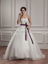 STRAPLESS APPLIQUED AND BEADED WEDDING DRESS WITH SASH