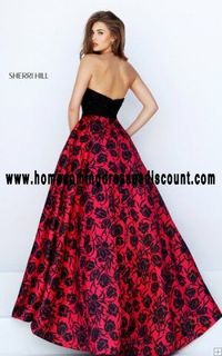 Halter Sherri Hill 50245 Floral Printed Prom Ball Gown