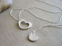 Heart Necklace Set Recycled Silver Sterling by MadisonHouseDesigns, $76.00