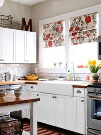 white cabinets, roman shades and kitchens.
