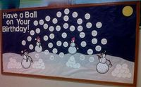 "This snowball and snowman winter display is a nice idea for a winter display. Rather than using it to highlight students' birthdays, I would use a title that promotes reading, such as ""Have a Ball Reading Books This Winter."" Then, as each of m..."