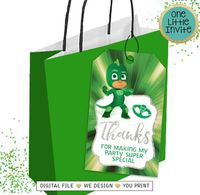 Gekko Thank you Card, Gekko Favour Tags, Gekko Party Tags, PJ Masks Birthday, PJ Masks Thank you Card $4.00