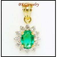 Emerald Solitaire Pendant Natural Diamond 18K Yellow Gold [P0027]