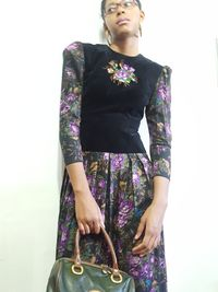Donna Morgan for NSP Velvet and Floral Print Dress size 6/8 Gucci Inspired $88.00
