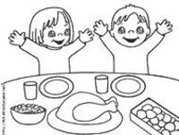 Printable coloring page of children eating Thanksgiving dinner for preschool Thanksgiving Sunday school lesson