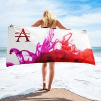 Purple and Red Ink Pool on White Towel $35.00