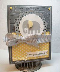 Like the color combo Zoo Babies - Congratulations card by justcrazy at split coast stampers